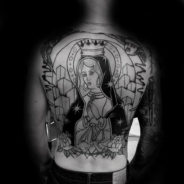 Black Ink Outline Virgin Mary Male Back Tattoos