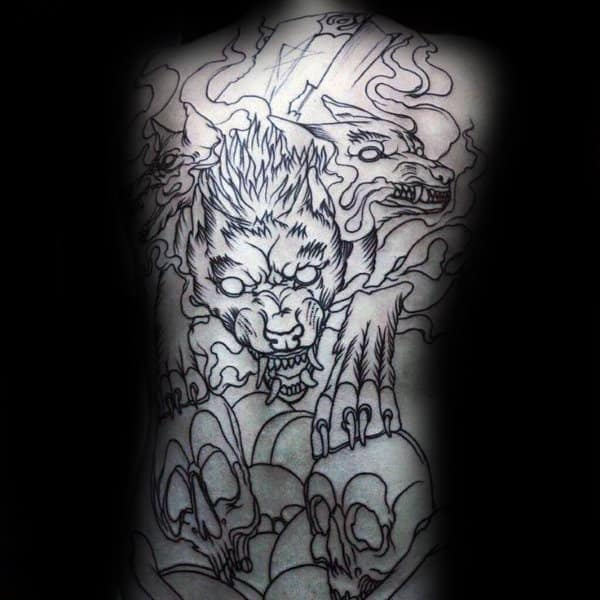Black Ink Outline Wolf With Skulls Male Full Back Tattoo