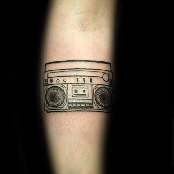 Black Ink Outlines Boombox Forearm Tattoos For Gentlemen