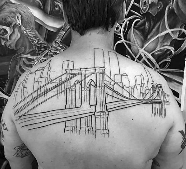 Black Ink Outlines Brooklyn Bridge With Nyc Skyline Back Tattoos For Men