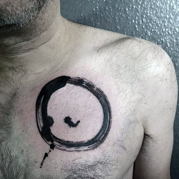 Black Ink Paint Brush Stroke Male Enso Tattoo On Upper Chest