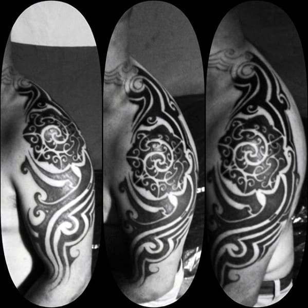Black Ink Pattern Sick Tribal Shoulder And Arm Tattoos For Guys