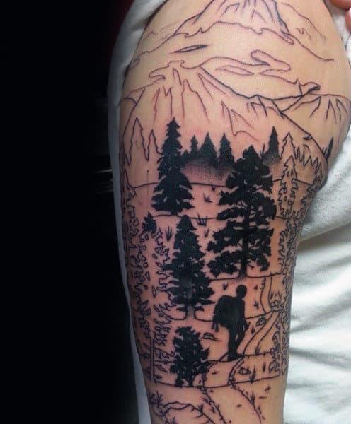 Black Ink Pine Tree Sleeve Mens Tattoo Designs