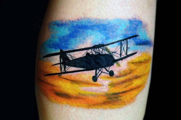 Black Ink Plane Flying Through Cloudly Sky Mens Small Watercolor Tattoos