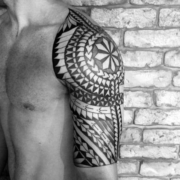 Black Ink Polynesian Male Tribal Tattoo Half Sleeve Designs