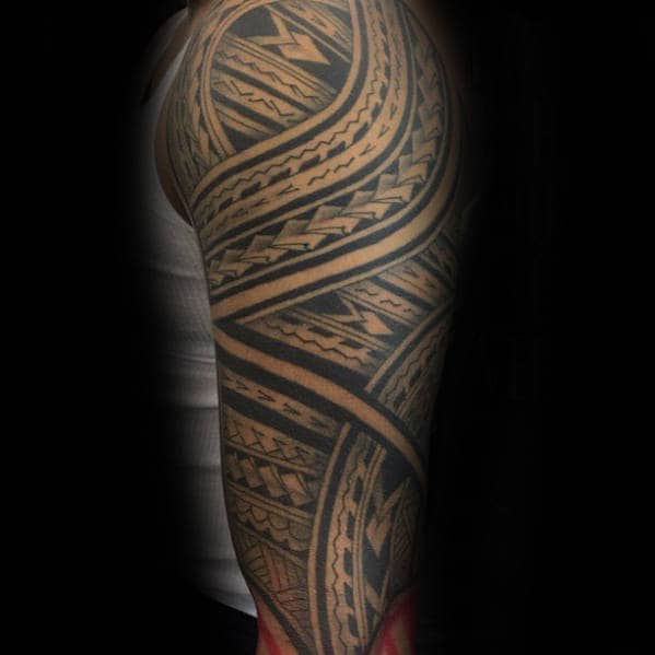 50 Polynesian Arm Tattoo Designs For Men Manly Tribal Ideas