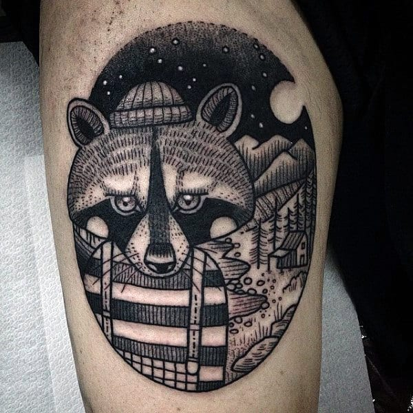 Black Ink Raccoon Burglar Thigh Tattoo Designs For Men