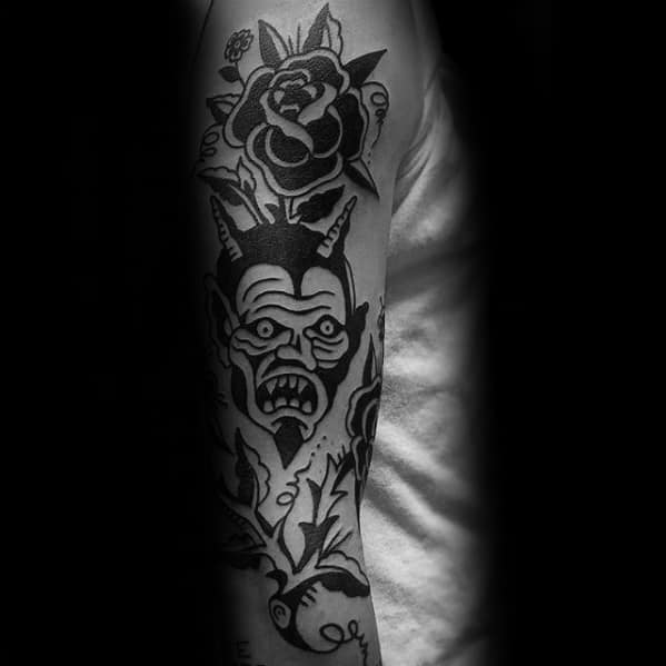 Black Ink Retro Traditional Devil Male Arm Sleeve Tattoo Ideas