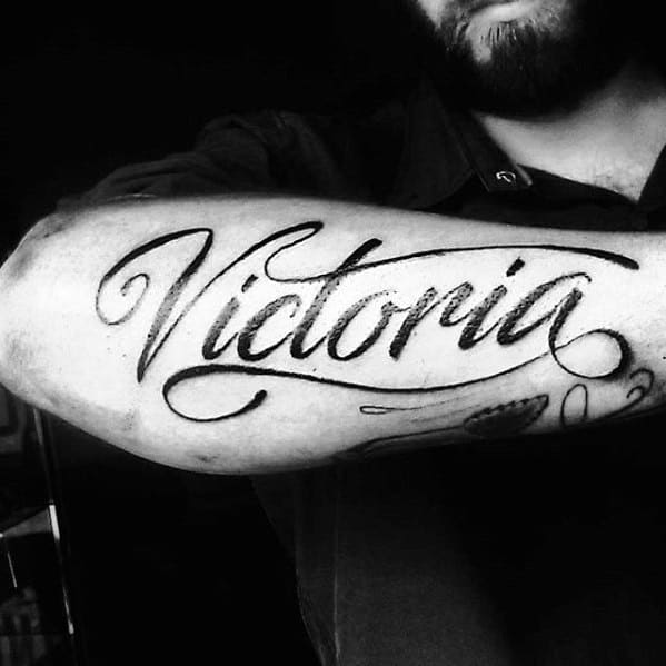 Black Ink Script Font Guys Victoria Name Forearm Tattoo