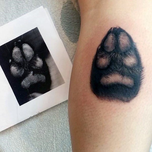 Black Ink Shaded Cool Fuzzy Dog Paw Mens Leg Calf Tattoos