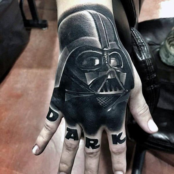 Black Ink Shaded Dark Star Wars Mens Hand Tattoos