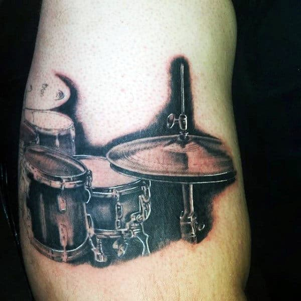Black Ink Shaded Drum Set Male Tatoto Ideas On Arm