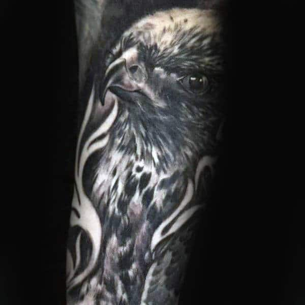 Black Ink Shaded Falcon Tattoos On Arm For Guys