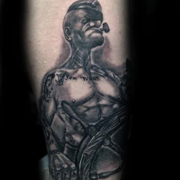 Black Ink Shaded Forearm Popeye Male Tattoo Inspiration