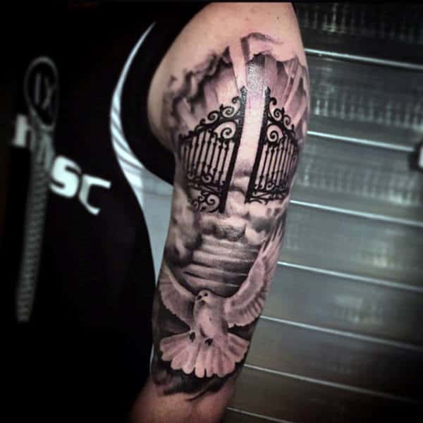 Black Ink Shaded Heaven Gates Tattoo Half Sleeve For Men