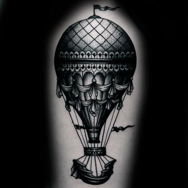 Black Ink Shaded Hot Air Balloon Male Leg Tattoos