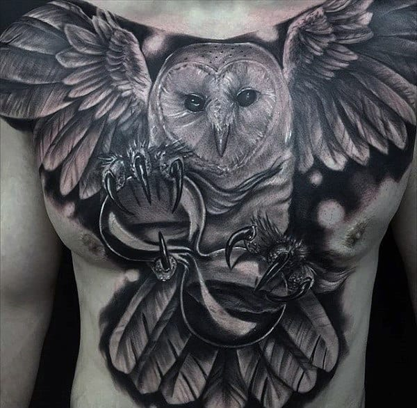 Black Ink Shaded Hourglass Owl Chest Tattoos For Guys
