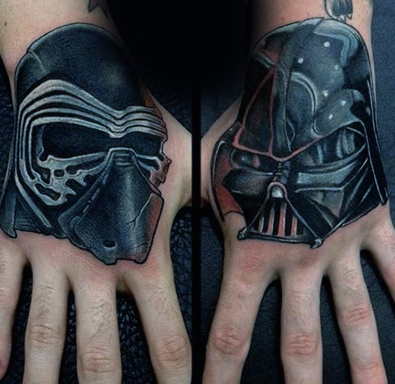 Black Ink Shaded Insane Star Wars Tattoos For Men On Hands