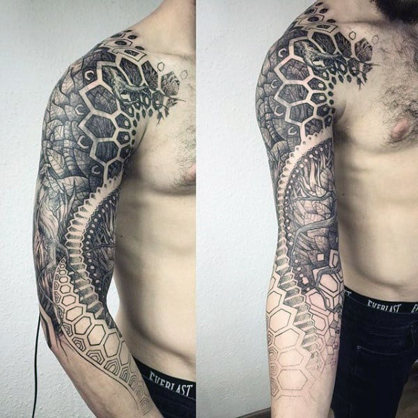 Black Ink Shaded Male Full Arm Factal Tattoo Designs