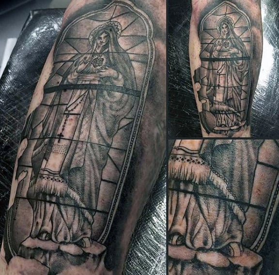 Black Ink Shaded Male Stained Glass Tattoo On Leg