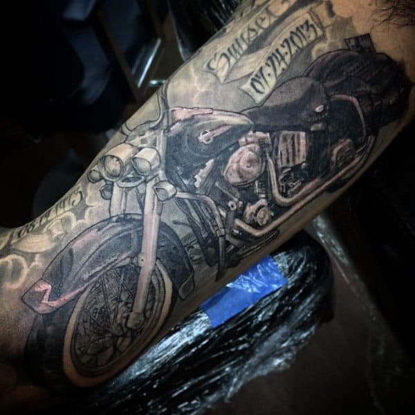 Black Ink Shaded Memorial Harley Davidson Mens Half Sleeve Tattoos