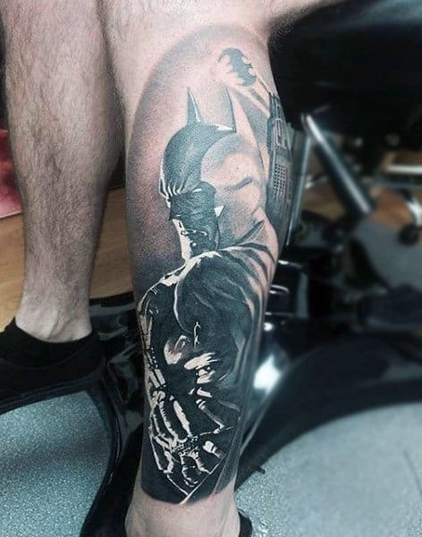 Black Ink Shaded Mens Batman Themed Leg Tattoos