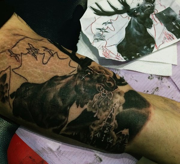 Black Ink Shaded Mens Bicep Moose Tattoos