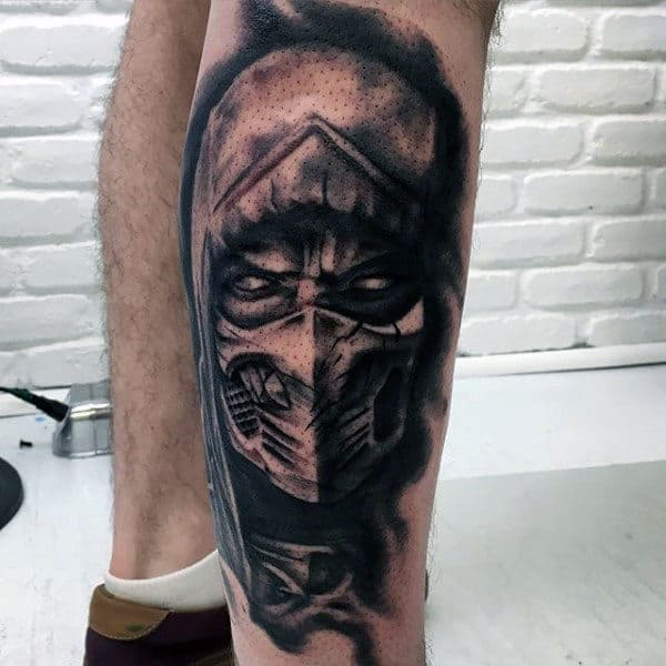 Black Ink Shaded Mortal Kombat Leg Tattoo For Guys