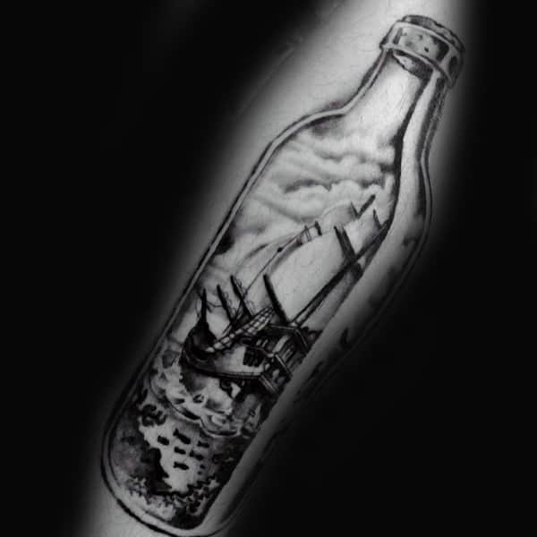 Black Ink Shaded Ship In A Bottle Tattoos On Men