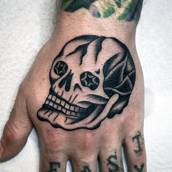 Black Ink Shaded Skull With Star Eyes Mens Traditional Hand Tatotos