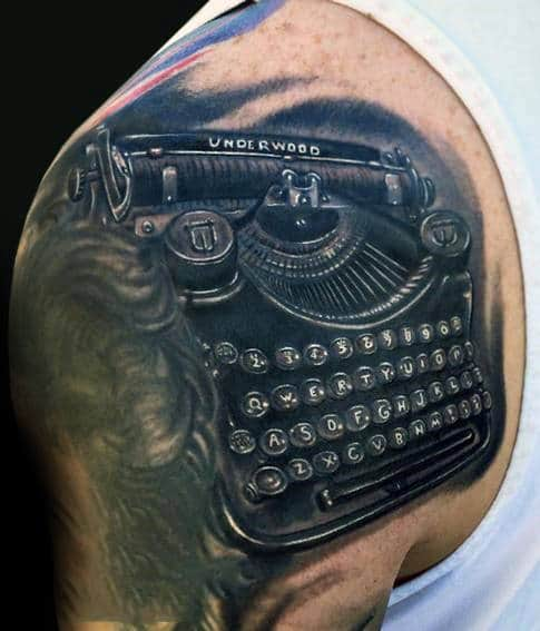 Black Ink Shaded Typewriter Shoulder Tattoo Ideas For Guys