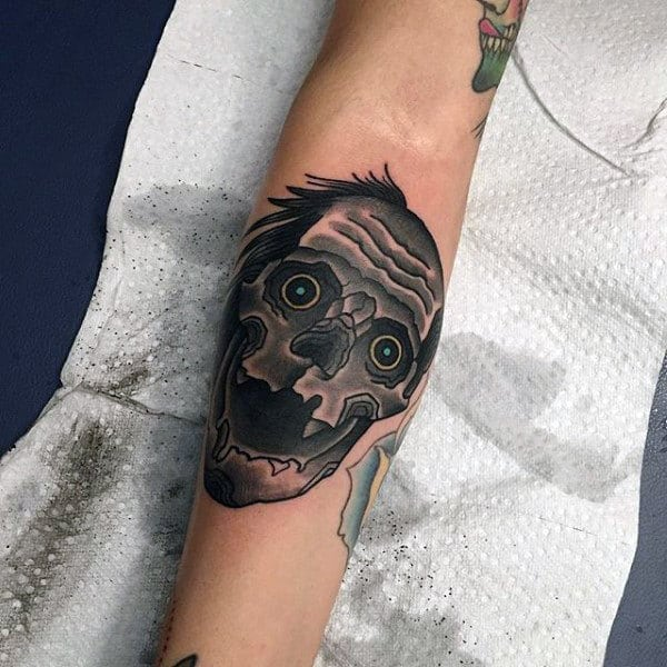 Black Ink Shaded Zombie Face Tattoo On Mans Inner Forearm