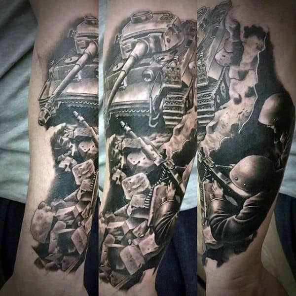 Black Ink Shading Mens Forearm Solider Army Tattoo With Tank