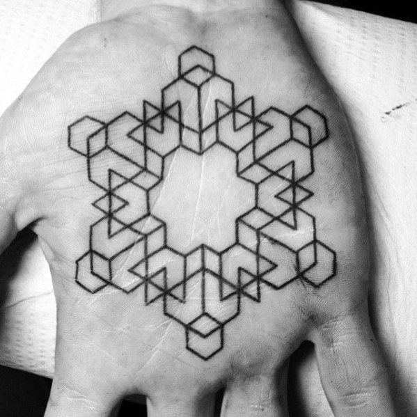 Black Ink Shapes Guys Geometric Palm Of Hand Tattoo Deisgns