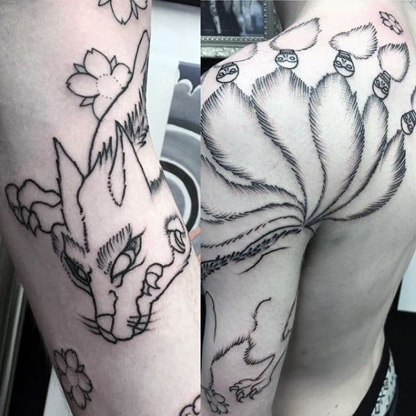 Black Ink Shoulder And Arm Male Kitsune Nine Tailed Fox Tattoos