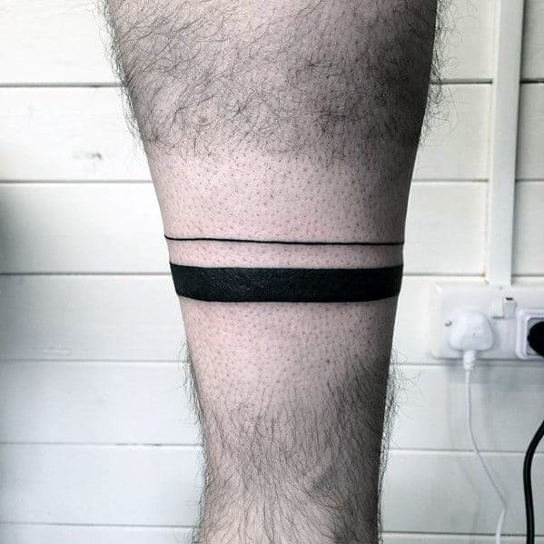 Black Ink Simple Band Mens Leg Tattoo Designs