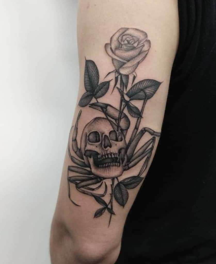 black-ink-single-needle-skull-rose-tattoo-hectormorenotattoo