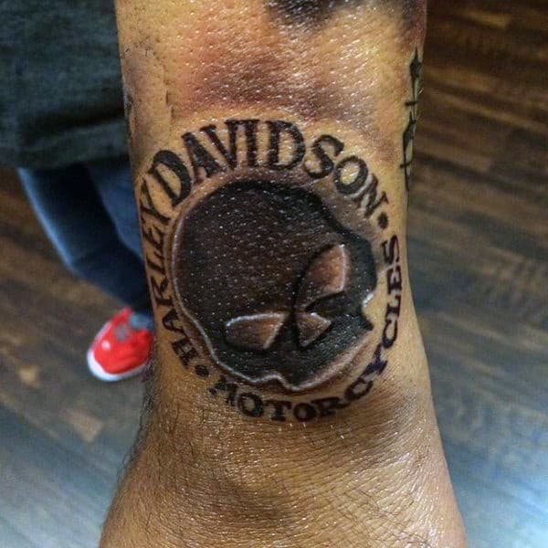 Black Ink Skull Harley Davidson Wrist Guys Tattoos