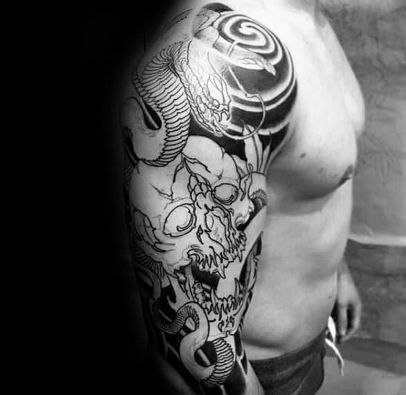 Black Ink Sleeve Skull Japanese Snake Mens Tattoo Ideas