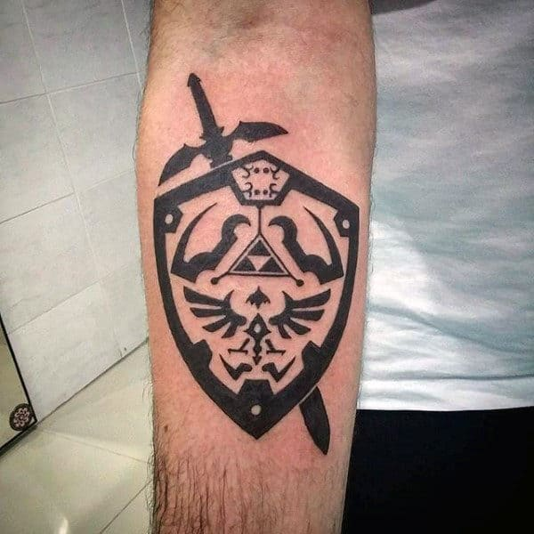 Black Ink Small Guys Zelda Triforce Shield Forearm Tattoo