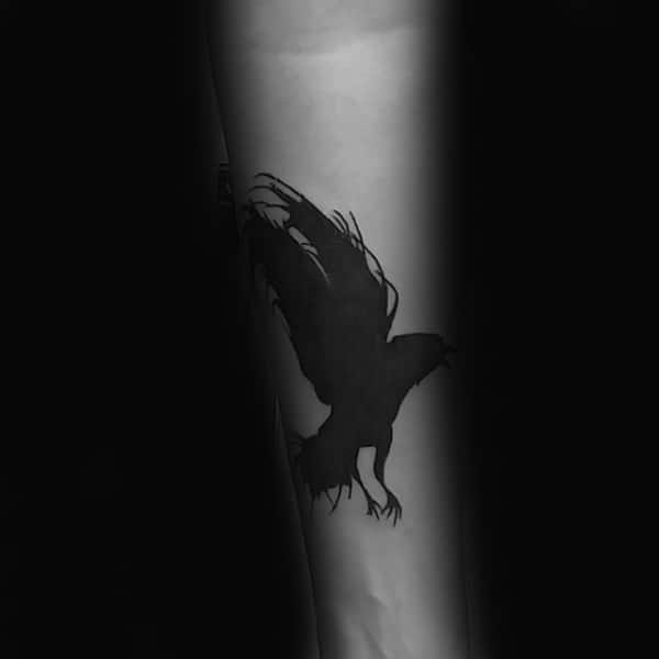 Black Ink Solid Mens Crow Small Tattoo On Inner Forearm
