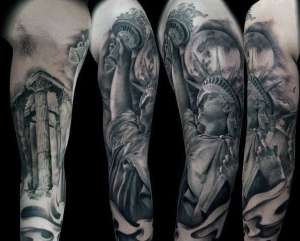 Black Ink Statue Of Liberty Tattoo Sleeve Men