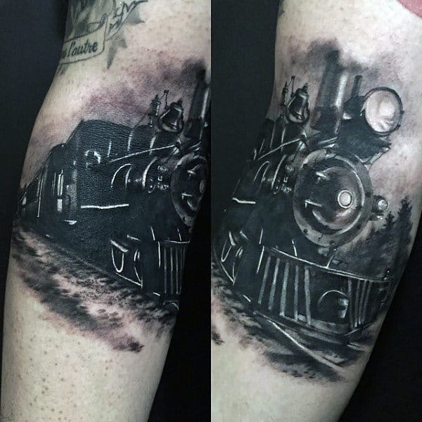 Black Ink Steaming Train Tattoo For Men