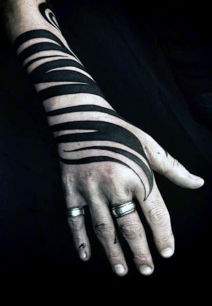 Black Ink Swirl Mens Tribal Hand Tattoo Design Ideas