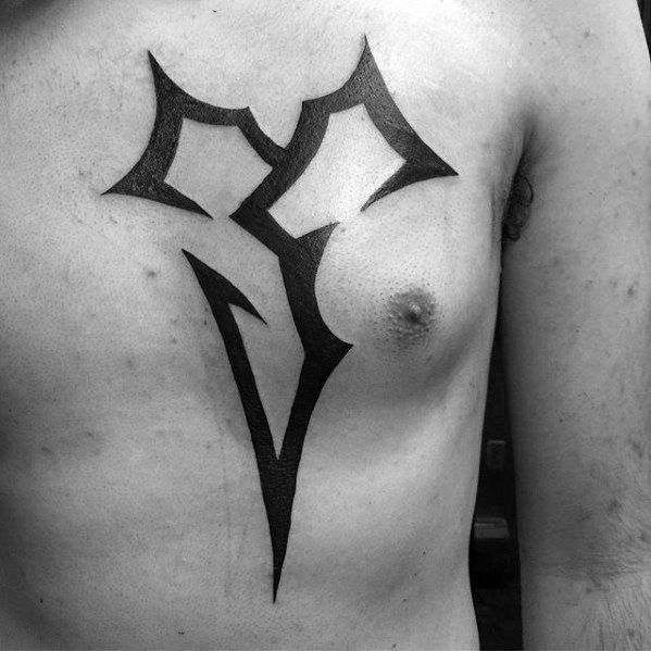 black ink symbol final fantasy video game mens chest tattoos
