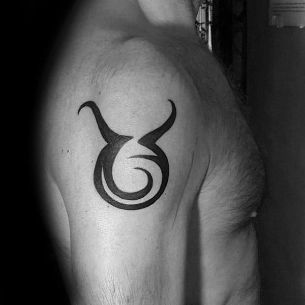 Black Ink Taurus Tribal Male Upper Arm Tattoo Inspiration