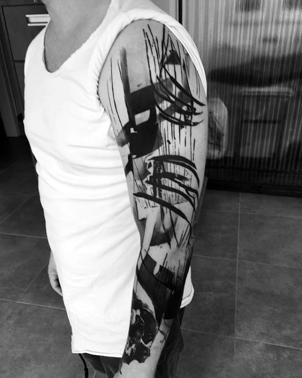 Black Ink Trash Polka Abstract Arm Tattoos For Guys