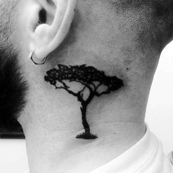 Black Ink Tree Guys Side Of Neck Small Tattoo Design Ideas