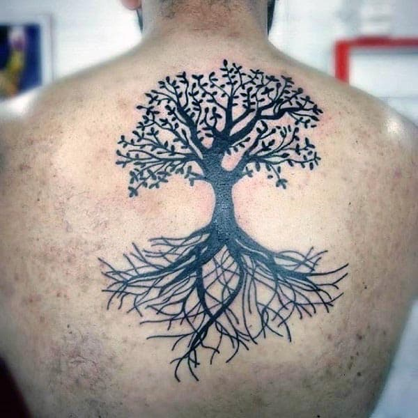 Black Ink Tree Of Life Mens Upper Chest Tattoos