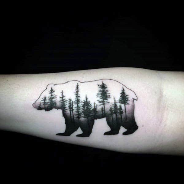Black Ink Trees Male California Bear Forearm Tattoo